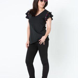 Camiseta cinta plisada negra