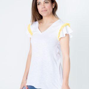 Camiseta cinta plisada amarilla con flores blancas